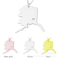 America Alaska State Map Pendant Necklaces With Heart DIY St...