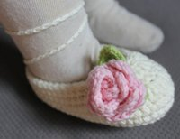 1pair Crochet baby girl ballet shoes handmade flower lace up...