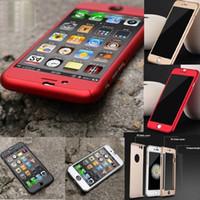 Pour iphone 7 6 6S 6plus Luxury Full Body Protect dur Slim Utra mince couverture de cas W / Verre Trempé Pour iPhone6 plus