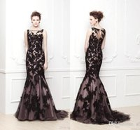 Ready To Ship Sheer Black Lace Mermaid Evening Dresses 2016 ...