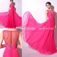 2015 Fuchsia Prom Dresses with Sheer Crew Neck Zipper Backle...