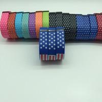 Drapeaux américains coeurs Fitbit Flex Impression remplacement bande souple TPU sans fil bracelet Activité Bracelet dragonne avec fermoir en métal DHL gratuit