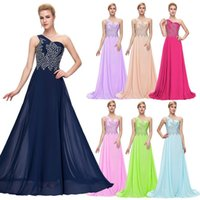 Grace Karin One shoulder Beading Chiffon Floor Length Evenin...