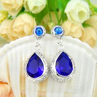 Free Shipping- - 2prs Lucky Shine Water Drop Light & Dark Blue...