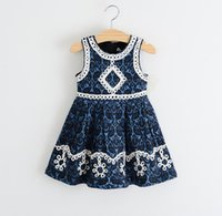 2015 Summer Sweet Girls Vest Dresses Lace Embroidery Sleevel...