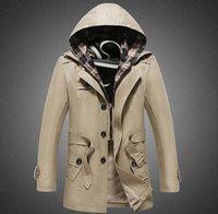 2015 autumn winter mens trench coats slim fit long coats cas...