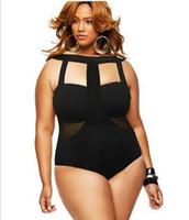 Black Plus size Lady Swimwear Stretch Bodysuit Party Leotard...