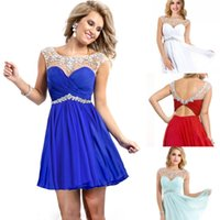 2015 Homecoming Dresses Cheap Crew Neck Crystal Beaded Open ...