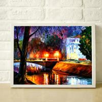 Освещение мостов дерева 100% Ручная роспись толщиной мастихином картины маслом высокого качества холст декоративной живописи JL088