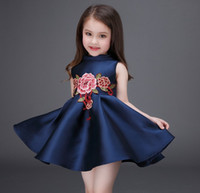 2016 Spring Summer Flower Embroidery Full Dresses Girls Slee...