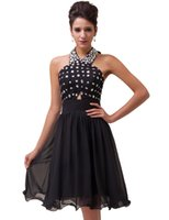Grace Karin Sexy Halter Black Beaded Vintage Mother Of The B...