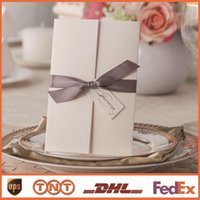 White wedding invitations wedding invitations with ribbons i...