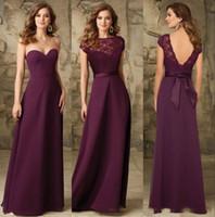 Chic Grape Chiffon Long Bridesmaids Dresses Backless Cheap B...