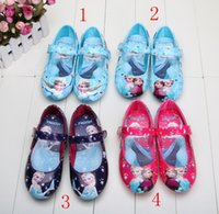 2015 hot sell frozen elsa and anna shoes blue girls flats ki...