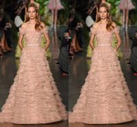2016 New Gorgeous Rose Pink Elie Saab Dresses Off Shoulder A...