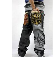 American marca desconto calças soltas calças jeans baggy para homens homens jeans estilo rap hiphop rapper mais calças jeans de tamanho livre