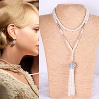 NEW 1920-х годов Великий Гэтсби жемчужные бусины ожерелья ювелирных изделий способа 2015 Женщины Choker Long Pearl Заявление ожерелье
