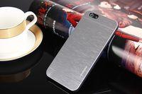 Alliage de Métal MOTOMO aluminium brossé couverture caoutchoutée peau cas hybride pour iPhone 6 6G Air 4,7 5,5 plus Samsung Galaxy S3 S4 S5 Note 2 3