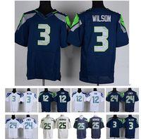 #24 Marshawn Lynch Football Jersey Elite Blue Football Jerse...