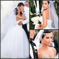 Платья Ким Кардашян Тюль бальное платье Свадебные платья без бретелек корсет Puffy Sexy Backless Принцесса Свадебные