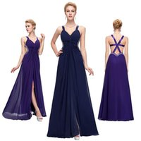 Grace Karin Sexy High Split V- neck Split Long Blue Purple Br...