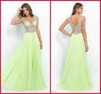 2015 See Through Nude Sheer Sexy Lime Green Chiffon Prom Dre...