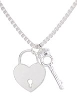 6PCS Shiny Silver Metal Lock and Crown Key Pendant Necklace ...