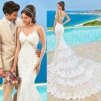 Full Lace Backless Beach Wedding Dresses Spaghetti Neckline ...