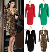 Long Sleeves Leopard Print Short Cocktail Dresses 2015 Crew ...