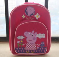 30x25x9cm Pink sister pig children' s school bags backpa...