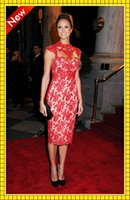 Stacy Keibler Lace Sheath Evening Dresses Sheer High Neck Ca...