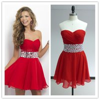 2015 Red Sweetheart Homecoming Dresses with Crystal Rhinesto...