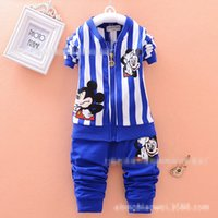 3 Color Boy and girl stripe Mickey Suits 2015 new children C...
