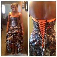 Мода Дешевые Realtree Camo Свадебные платья 2016 Vestidos де Novia Милая Привет Lo оборками назад Корсет элегантный оранжевый Свадебные платья