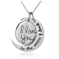Collier Mode Lune I Love You To The Moon And Back Pour Chain Link Maman Sœur Pendentif famille