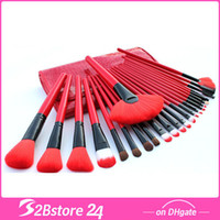24Pcs Red Make Up Cosmetic Brush Set Kit Makeup Brushes Pink...