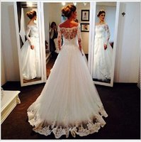 Long Sleeves Lace Wedding Dresses Fashion A- Line Strapless B...