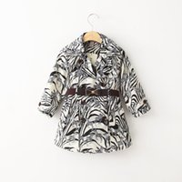 NEW ARRIVAL baby girl kids Spring Fall zebra tench coat blaz...