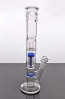 Nouvelle arrivée droites bangs verre bras perc arbre et bleu nid d'abeille percolateur tuyau d'eau de tuyaux en verre épais avec 18mm joint