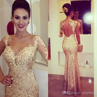 Vestidos De Noche One Sleeve Long Gold Sequins Evening Gowns...