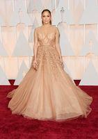 2015 Оскар Дженнифер Лопес Red Carpet знаменитости платья Sheer бисером тюль вечера Шампань мантий DHYZ 01