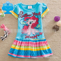 My Little Pony Girls Short Sleeve Summer Dresses Cotton Rain...