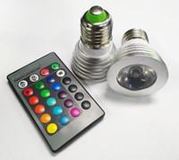 3W LED RGB Ampoule 16 Changement de couleur LED 3W Spotlights RGB LED ampoule lampe E27 GU10 E14 MR16 GU5.3 avec 24 Télécommande Key 85-265V 12V