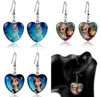 Cartoon Frozen Earrings Frozen Anna Elsa Princess Heart glas...