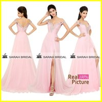 Pink Chiffon Prom Dresses Sexy Off the Shoulder Hollow Cryst...