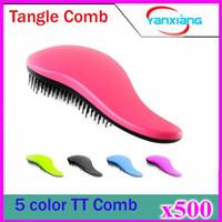 500 pcs Hair Brush Fashion démêlant Poignée douche brosse à cheveux Peigne Salon Styling Tamer Outil ZY-TT-03