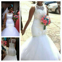 Elegant White Lace Tulle Mermaid Wedding Dresses 2016 Vintag...