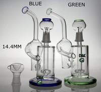 Nouveau boulon de verre de recyclage tuyau d'eau plate-forme de vapeur de verre avec le dôme et l'ongle couleur verte et bleue 14.4mm joint