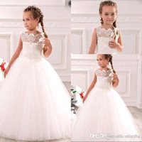 White Ivory First Communion Dresses Cute Little Girls pagean...