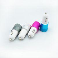 Металлический сплав Двойной Автомобильное зарядное устройство USB светодиодные 5V 2-портовый адаптер синхронизации зарядный Пуля универсальна для iphone6 плюс Samsung S6 HTC